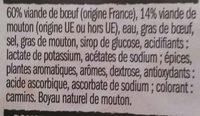 6 Véritables Merguez - Ingredients - fr