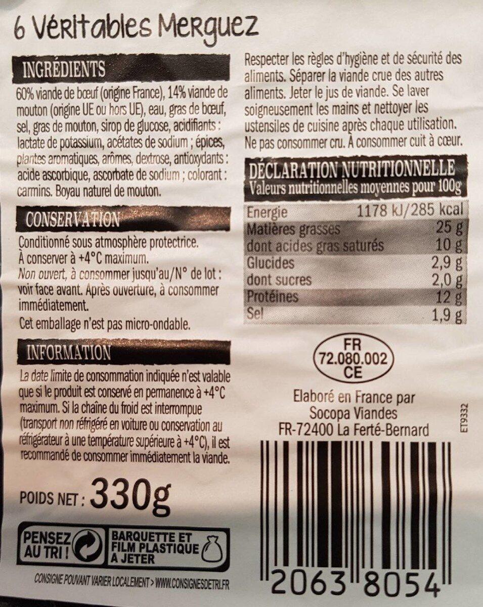 6 Véritables Merguez - Nutrition facts - fr