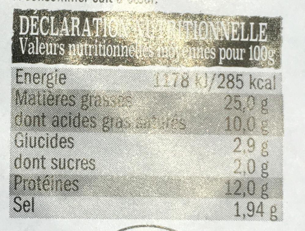 6 Merguez Véritables - Nutrition facts