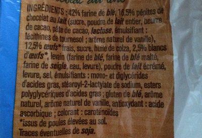 Briochette aux pepites de chocolat - Ingrédients - fr