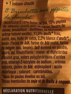 Briochettes pepites de chocolat - Ingrédients - fr