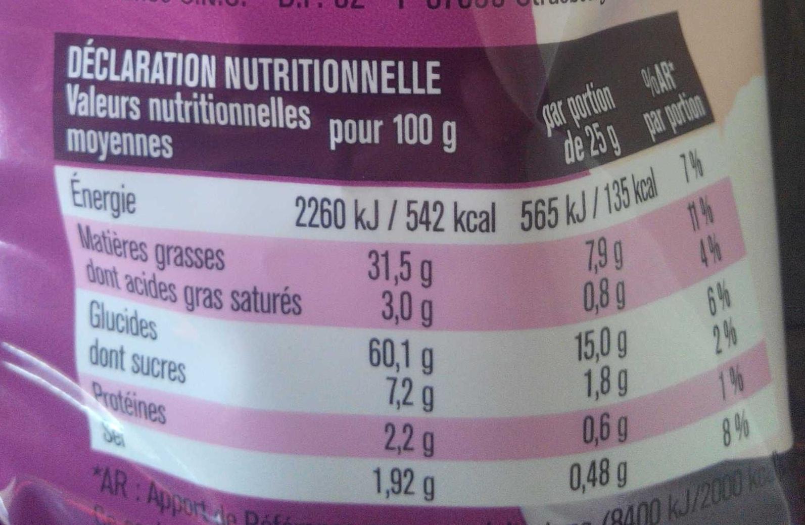 Chips à la crevette - Voedingswaarden