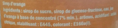Sirop d'Orange - Ingrédients