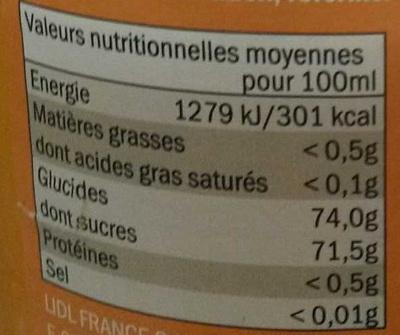Sirop d'Orange - Informations nutritionnelles