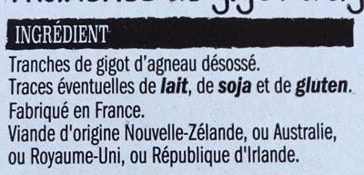 Tranches de Gigot d'agneau Sans Os - Ingrédients - fr