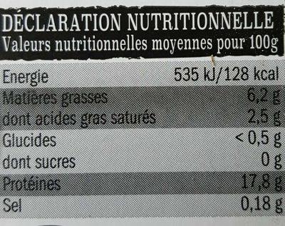Tranches de Gigot d'agneau Sans Os - Informations nutritionnelles - fr