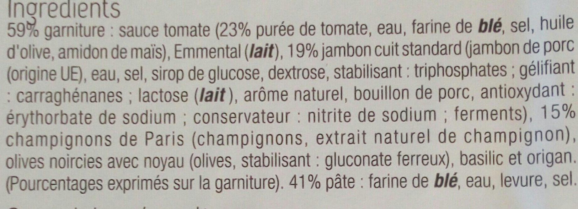 Pizza Jambon Champignons - Ingrédients