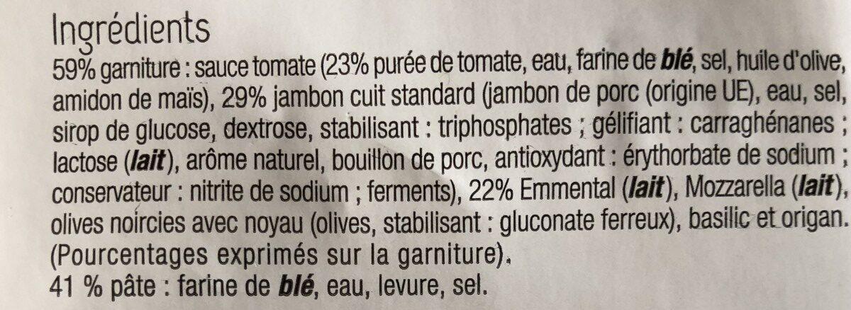 Pizza Jambon Emmental - Ingredients