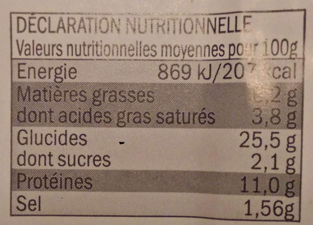 Pizza Jambon Emmental - Nutrition facts