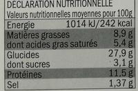 Pizza Chèvre Lardons - Informations nutritionnelles - fr