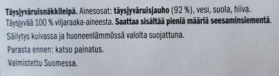 Täysjyväruisnäkkäri - Ainesosat - fi