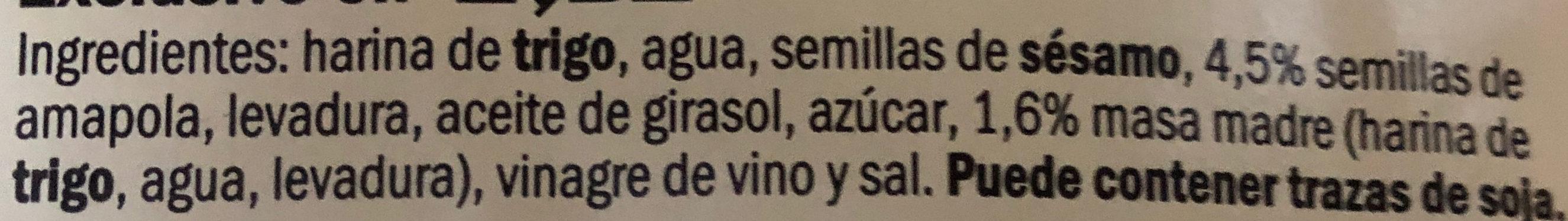 Pan semillas de Amapola - Ingrediënten - es