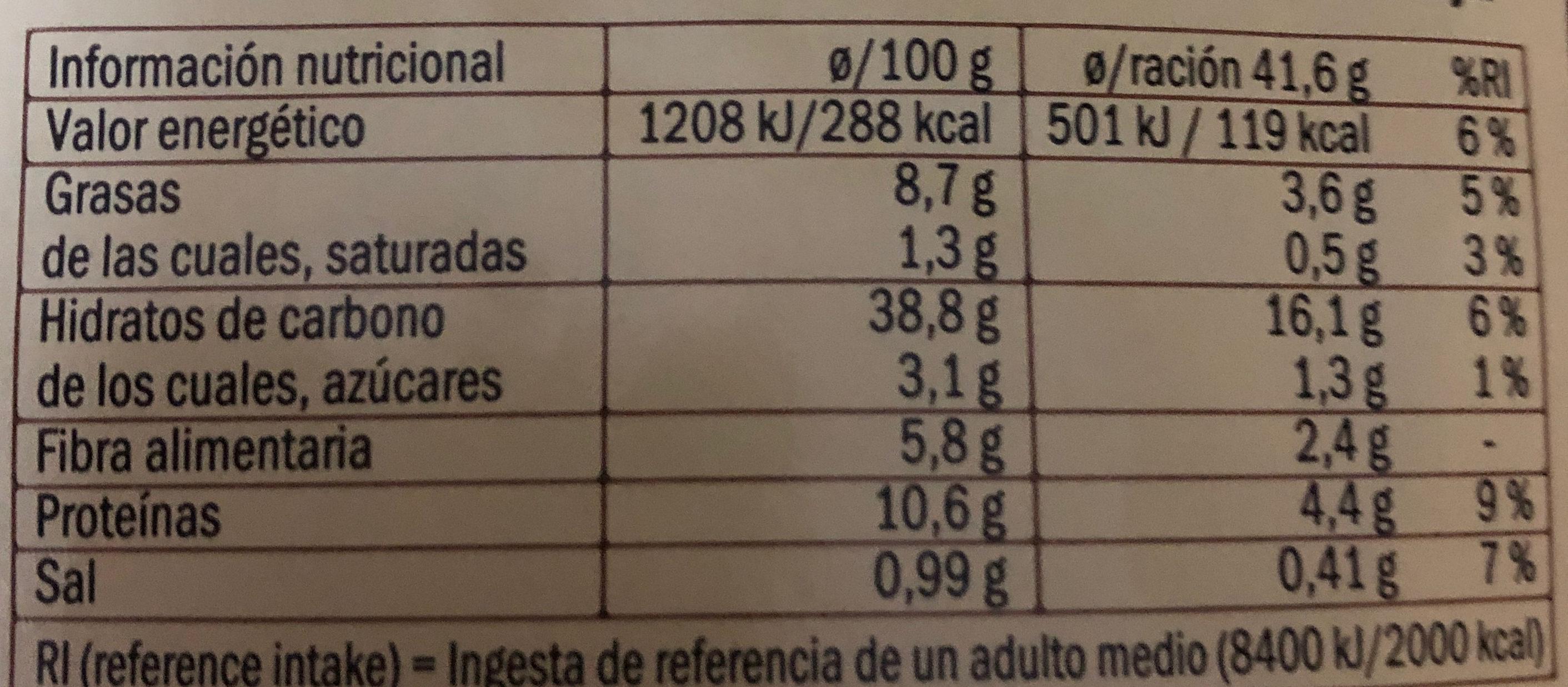 Pan semillas de Amapola - Voedingswaarden - es