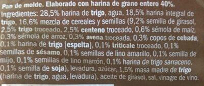 Pan de molde 15 cereales y semillas - Ingredients - es