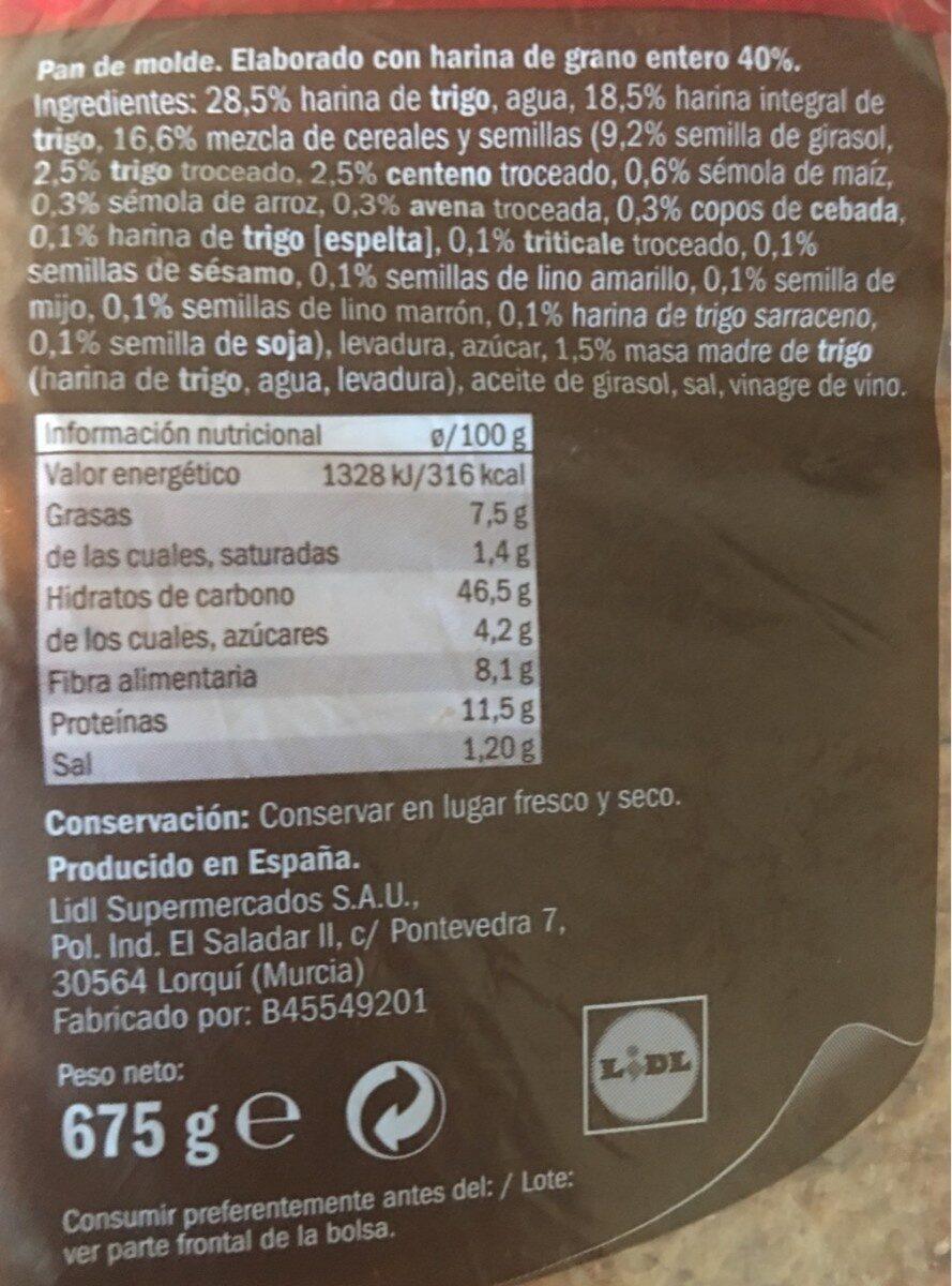 Pan de molde 15 cereales y semillas - Nutrition facts - es