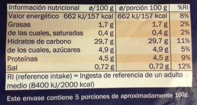 Churros lazo - Información nutricional