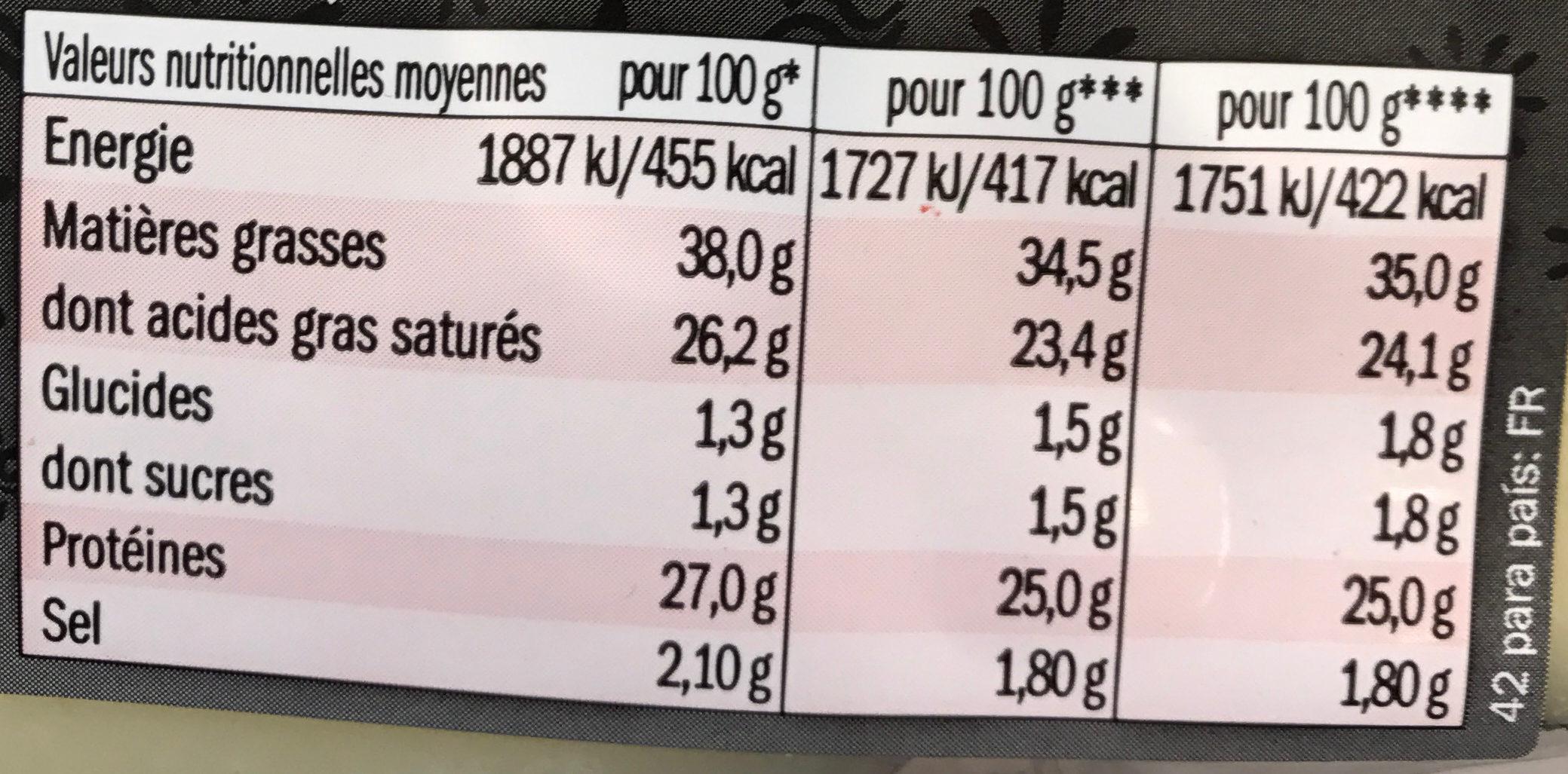 Tapas de Queso - Nährwertangaben - fr