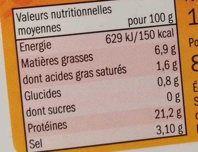 Filets d'Anchois Marinés - Informations nutritionnelles