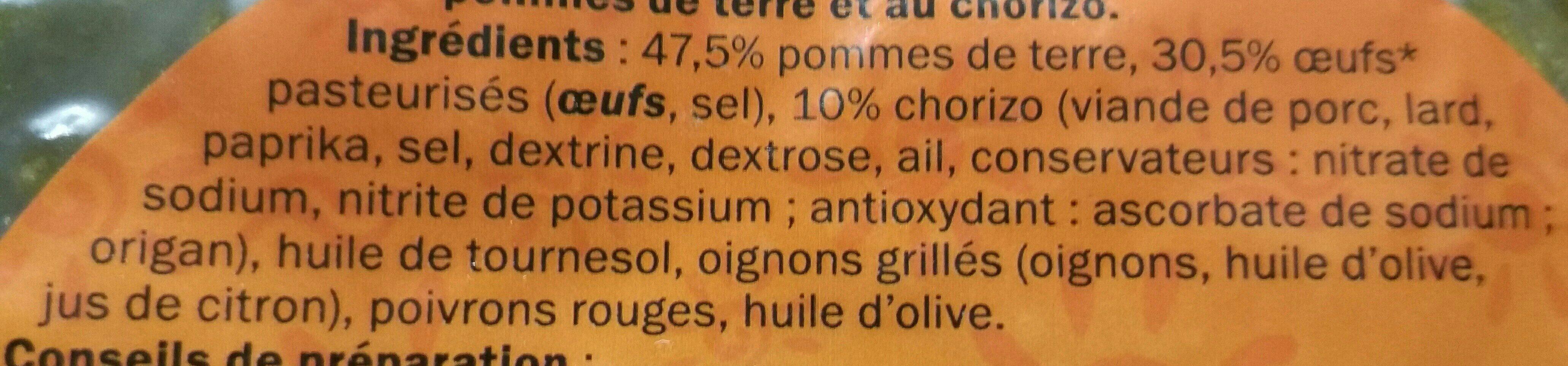 Tortilla au chorizo - Ingredients