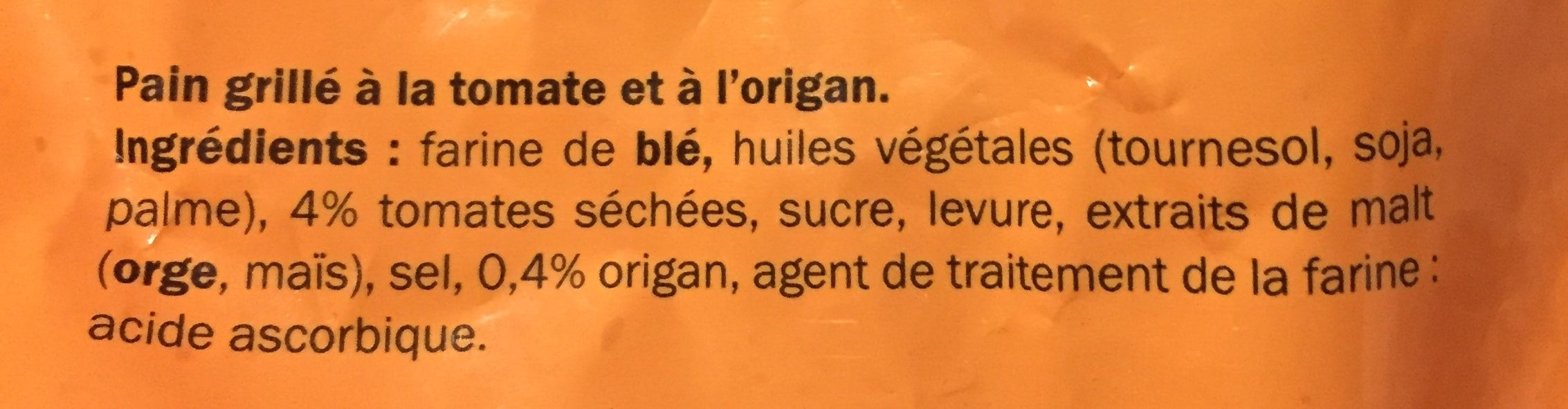 Pain grillé tomate & origan - Ingredients - fr
