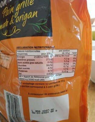 Pain grillé tomate & origan - Nutrition facts - fr