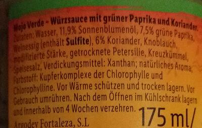 Mojo Verde - Ingrediënten - de