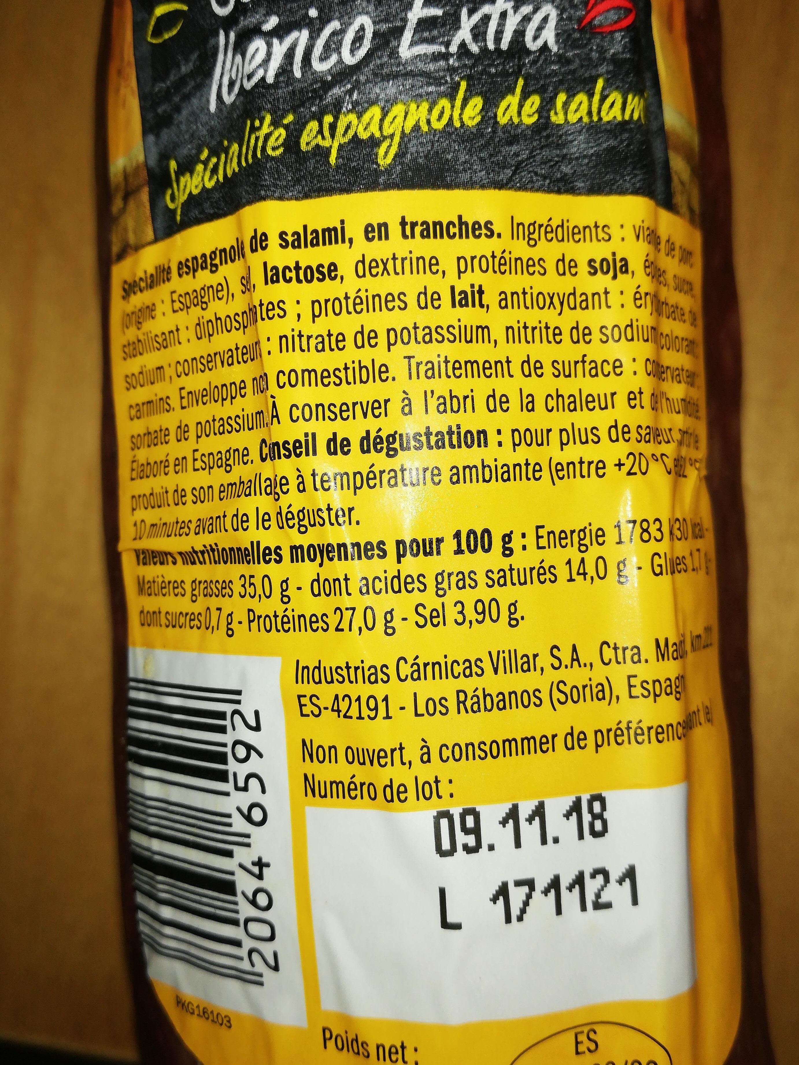 Salami espagnole - Nutrition facts - fr