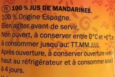 Zumo de mandarina exprimido - Ingrediënten - fr