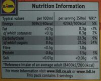 Zumo de mandarina exprimido - Voedingswaarden - fr