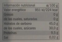 Ajo negro - Información nutricional