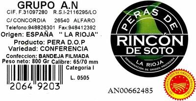 Peras de Rincón de Soto - Ingredientes