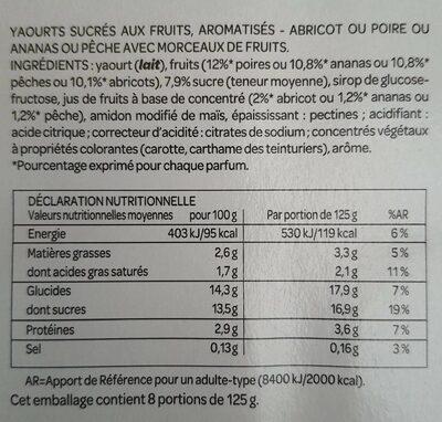 Yaourt aux fruits avec morceaux - Nutrition facts - fr