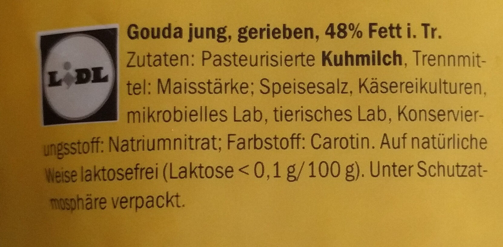 geriebener Gouda jung - Ingrediënten - de