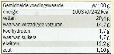 Verse Geitenkaas spread naturel - Nutrition facts - nl