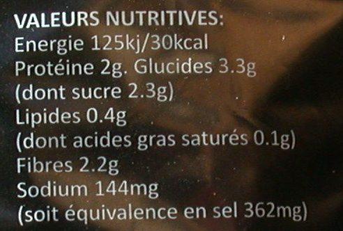 Haricots vert Très Fins 350 g - Informations nutritionnelles - fr