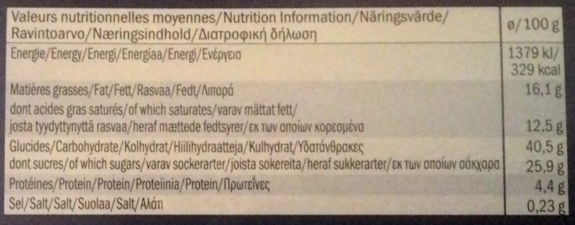 Ecorino minis Vanilla Neo - Informations nutritionnelles