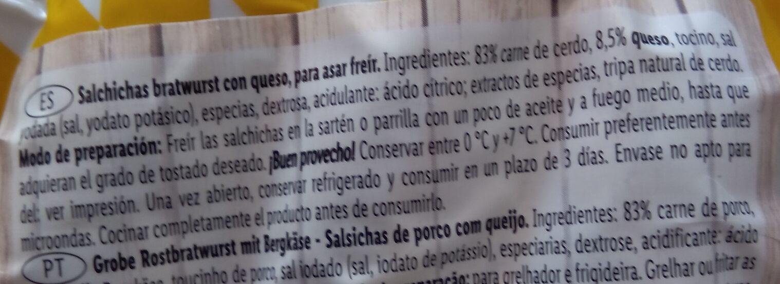 Salchichas tipo Bratwurst con queso - Ingrédients - es