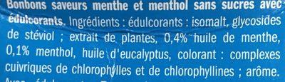 Bonbons menthe et menthol - Ingrédients - fr