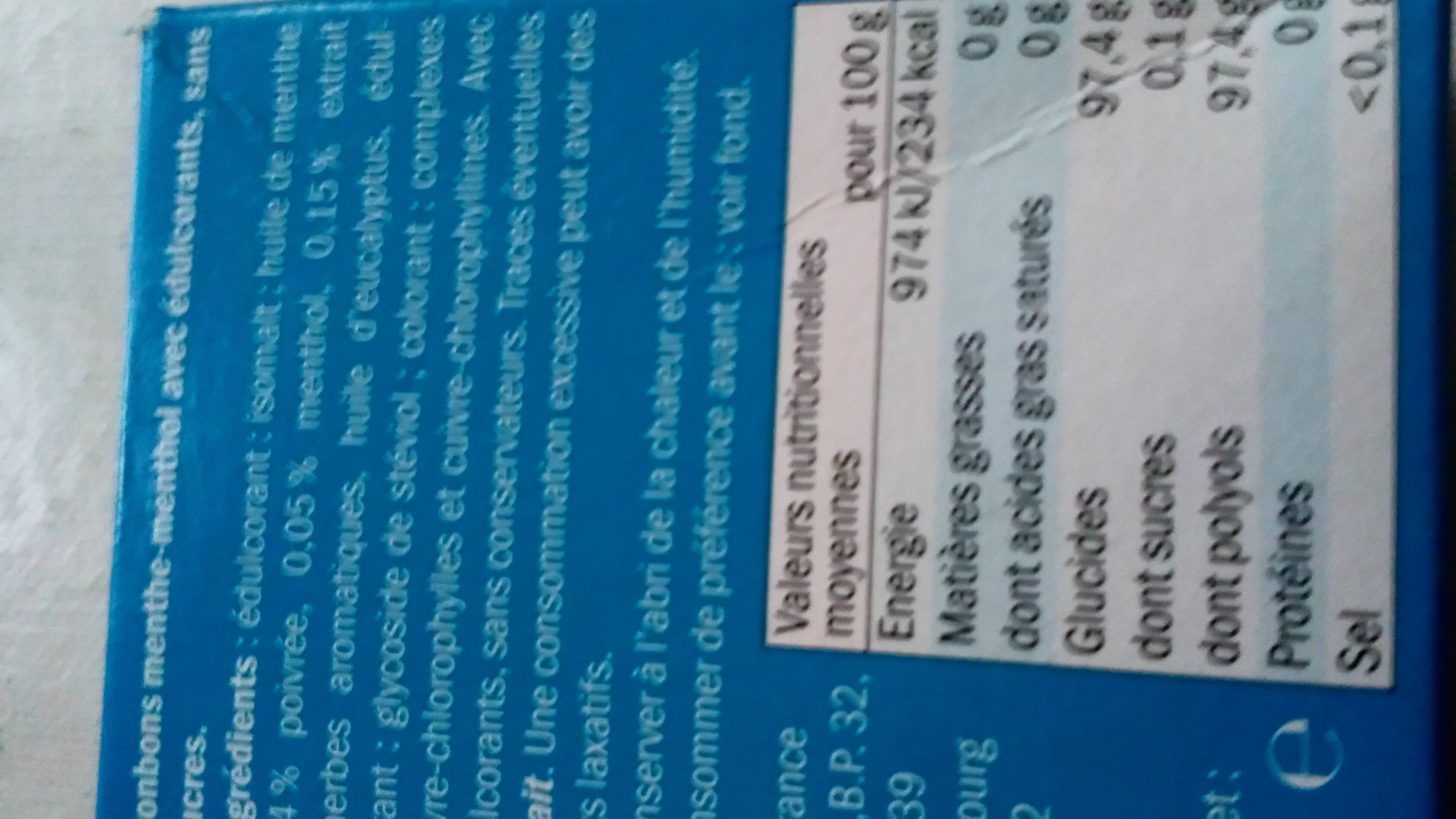 Bonbons Menthe & Menthol - Informations nutritionnelles