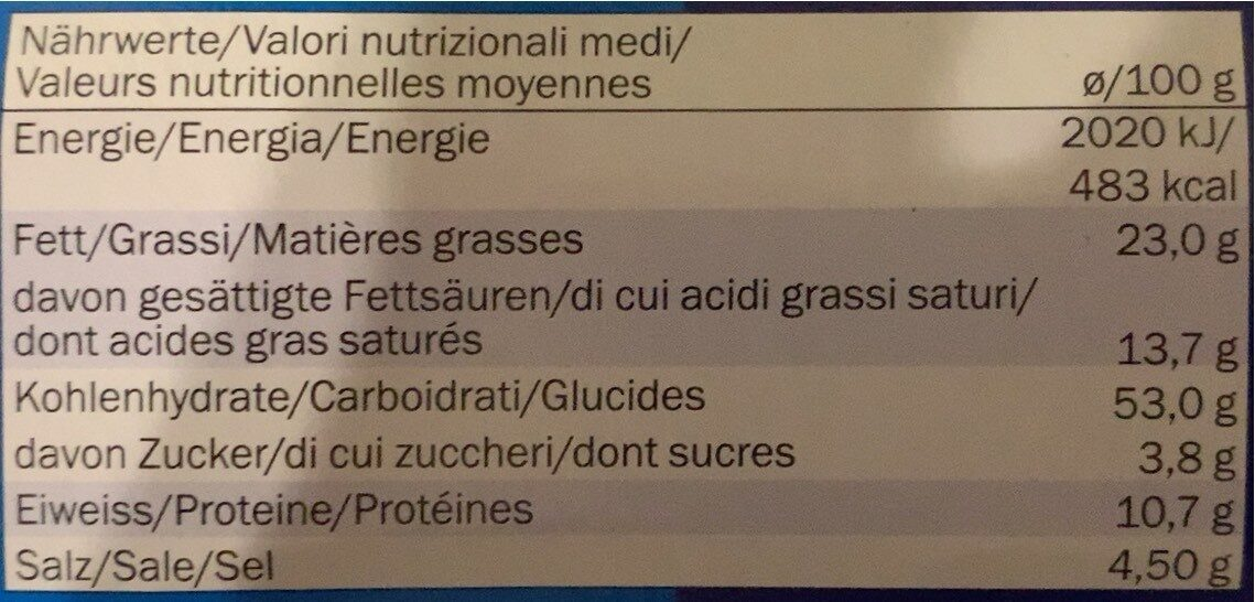 Salted popcorn - Valori nutrizionali - fr
