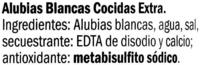 Alubias blancas cocidas - Ingredientes
