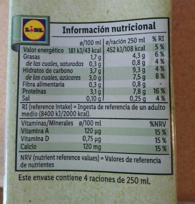 Bebida Soja Calcio - Nutrition facts - es