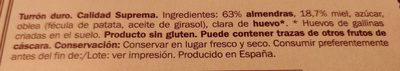 Turrón duro - Ingredientes - es