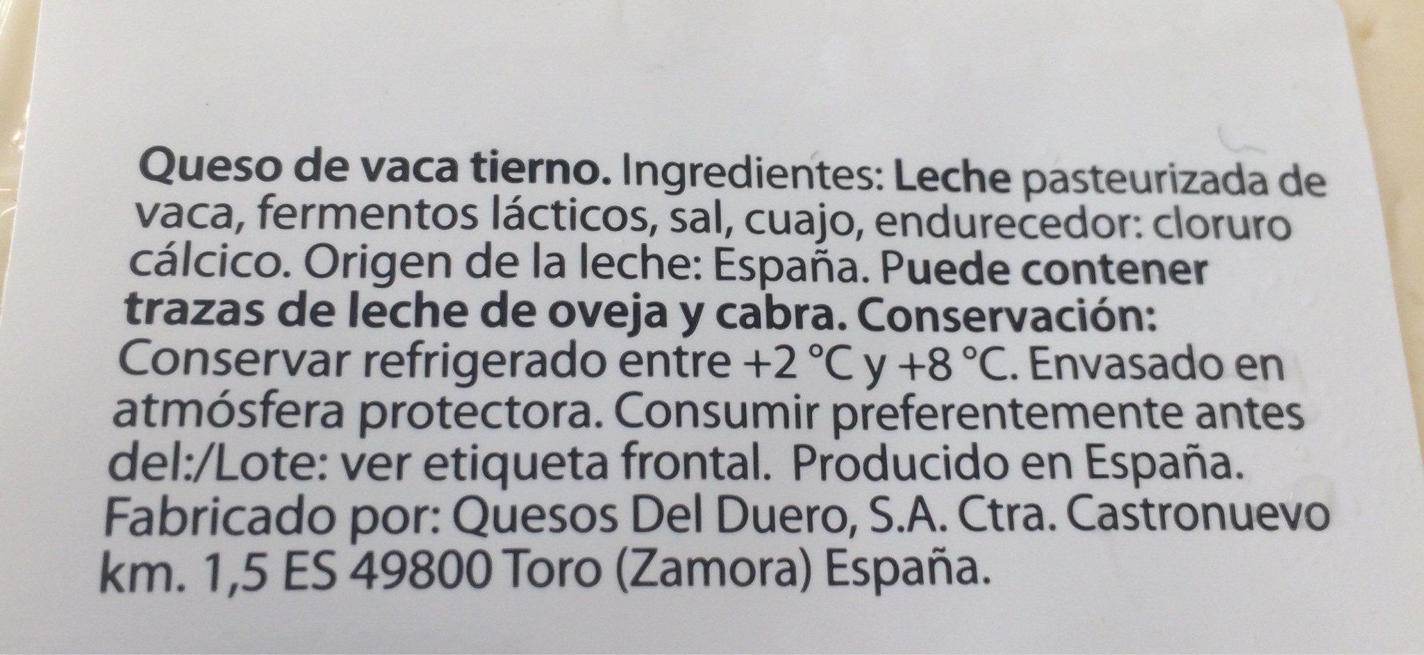Vaca tierno - Ingrédients - fr