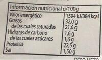 Vaca tierno - Informations nutritionnelles - fr