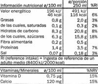 Bebida de avena - Informació nutricional