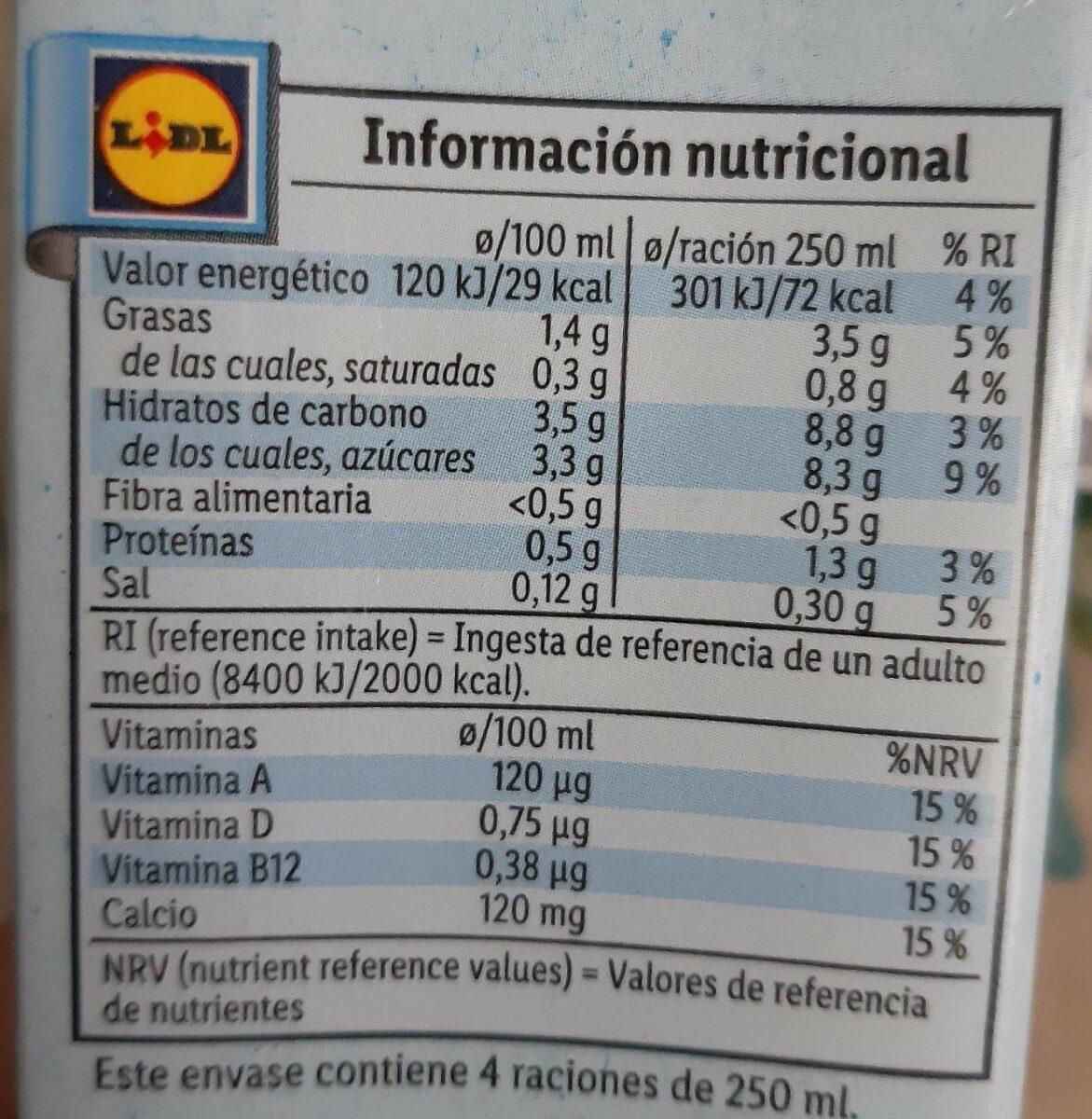 Leche de Almendra Calcio - Información nutricional - es