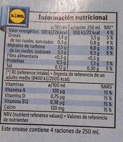 Leche de almendras calcio - Nutrition facts - es