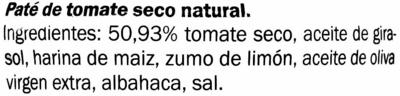 Paté de tomate seco al natural - Ingredientes