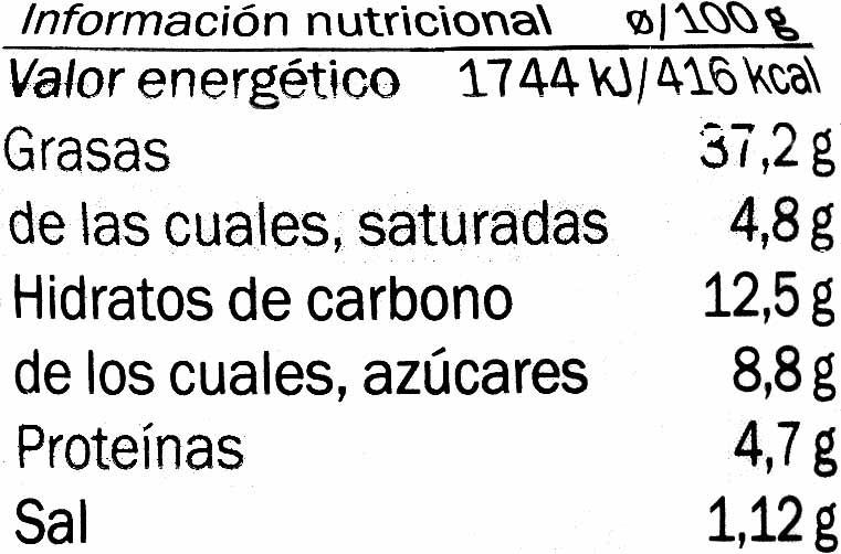 Paté tomate seco - Información nutricional